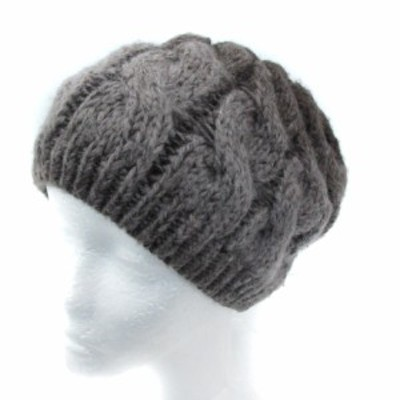 【中古】ゴア goa 帽子 ニット帽 ニットキャップ ケーブル編み F グラデーション グレー 茶 ブラウン レディース