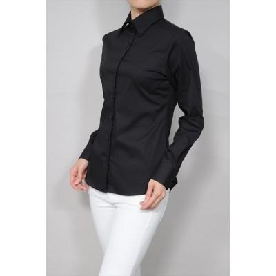 母の日 レディースシャツ ワイシャツ オフィス ブラウス ビジネス 長袖 ブラック 黒 ワイドカラーシャツ ストレッチ イージーケア 日本製  トップス