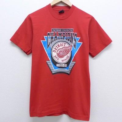 S/古着 半袖 ビンテージ Tシャツ 80s NHL デトロイトレッドウィングス クルーネック 赤 レッド アイスホッケー 20jun30 中古 メンズ