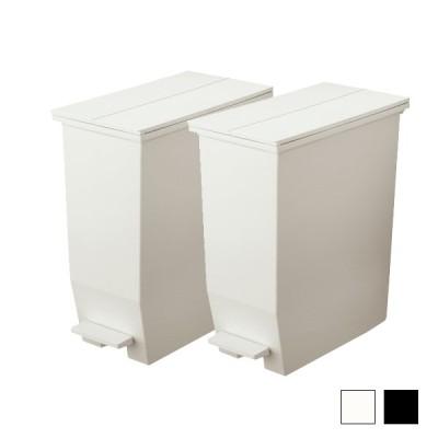 ゴミ箱 ダストボックス 35L 2個セット 左右開きフタ キャスター付き 省スペースごみ箱 ペダルオープンツイン