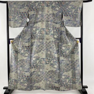 小紋 美品 秀品 草花 波 灰紫 単衣 身丈163cm 裄丈65cm M 正絹 中古