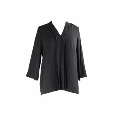 Alfani  ファッション トップス Alfani Black 3/4-Sleeve V-Neck Double-Pleat Blouse 10