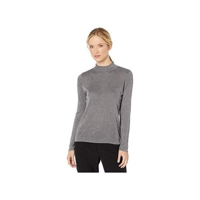 Vince Camuto Long Sleeve Lurex Mock Neck Sweater レディース セーター Medium Heather Grey