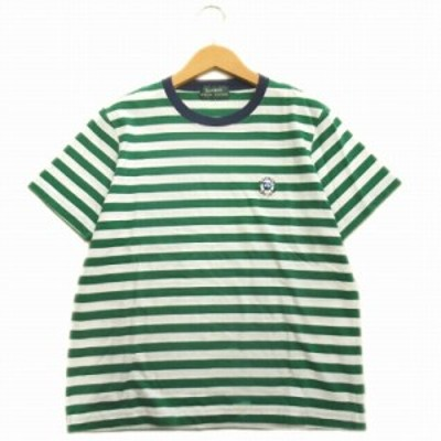【中古】ローレンラルフローレン LAUREN RALPH LAUREN ボーダー Tシャツ ロゴ 刺繍 カットソー グリーン ホワイト メンズ/25♪10 メンズ