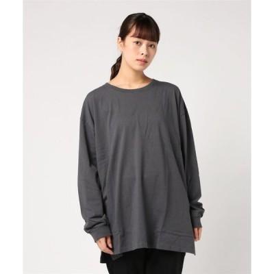 tシャツ Tシャツ OE天竺ビッグシルエットサイドスリットロンT長袖Tシャツカットソー