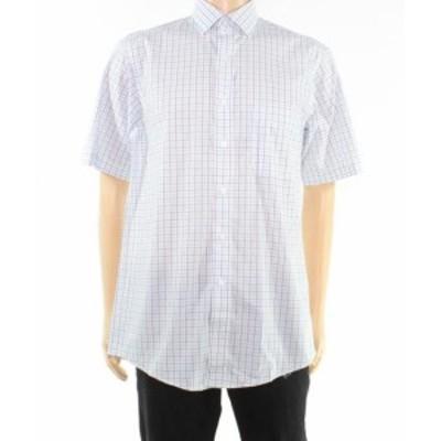 Plaid  ファッション ドレス Club Room NEW Blue Mens Size 15 Plaid Print Regular Fit Dress Shirt