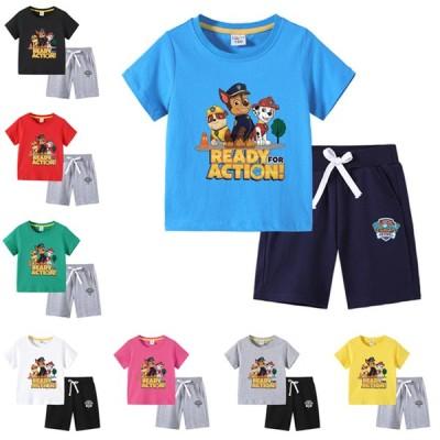 15color 夏大人気新作  パウパトロール (Paw Patrol)  子供服 セットアップ  キッズ 上下セット 2点セット 半袖Tシャツ トップス ハーフパンツ  通学着 通園着