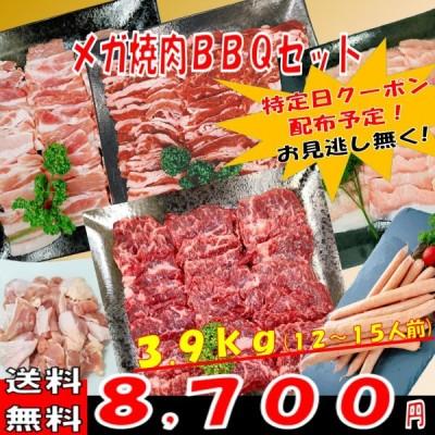 肉 バーベキュー 食材 牛肉 焼肉セット バーベキュー 肉 ハラミ BBQ 肉 カルビ バラ 豚トロ ウインナー ソーセージ 焼肉 豚肉 鶏肉 3.9kg 12〜15人前