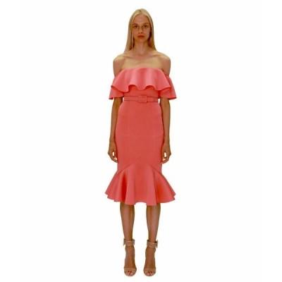 バッジェリーミシュカ ワンピース トップス レディース Off-the-Shoulder Fitted Scuba Dress with Flare Hem Paprika