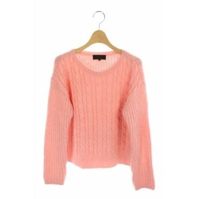 【中古】アンタイトル UNTITLED ケーブルニット セーター モヘア混 長袖 2 ピンク /MY ■OS レディース
