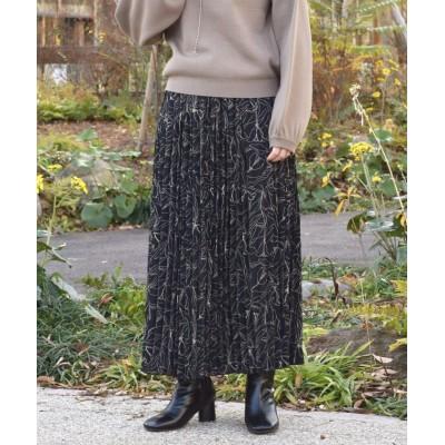 【ダブルクローゼット】 線画フラワープリントプリーツワッシャー加工スカート レディース ブラック FREE w closet