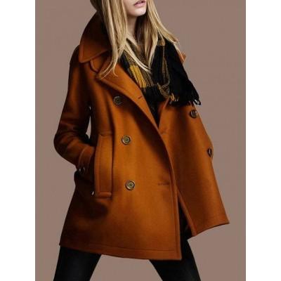 着やせ ダブルブレスト 無地 ファッション 合わせやすい 新作 レディース コート