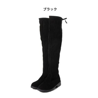 リボン付き裏起毛ローヒールニーハイブーツ(ブラック×35(22.0-22.5cm))