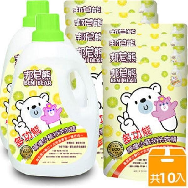 邦尼熊檸檬小蘇打洗衣精x2 + 洗衣精補充包x8