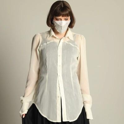 h.NAOTO ブラウス シャツ ストライプ シースルー ゴシック モード Lame striped chiffon blouse