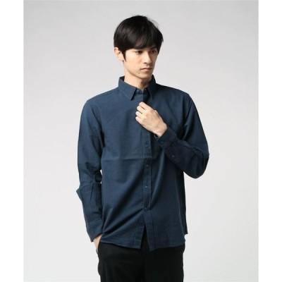 シャツ ブラウス 【BLUE STANDARD】リネンミックス長袖シャツ
