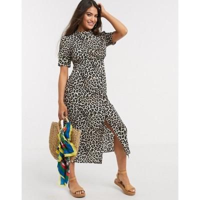 エイソス レディース ワンピース トップス ASOS DESIGN midi tea dress with buttons and split detail in leopard print