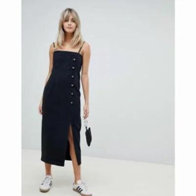 エイソス ワンピース button side midi denim dress in washed black Black