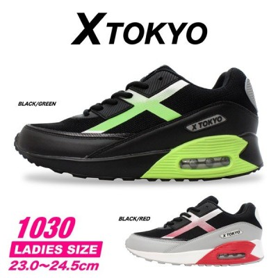 xtokyo 1030 レディース 婦人 スニーカー カジュアルシューズ 靴 黒 ブラック 赤 レッド グリーン 緑