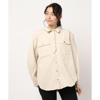シャツ ブラウス 後ろドット釦バックプリントオーバーサイズCPOシャツジャケット