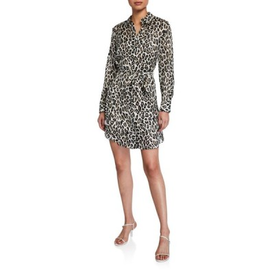 セオリー レディース ワンピース トップス Clean Leopard-Print Silk Shirtdress