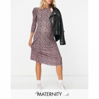 ピーシーズ Pieces Maternity レディース ワンピース ワンピース・ドレス tea dress with ruffle sleeve in pink ditsy floral フローラ