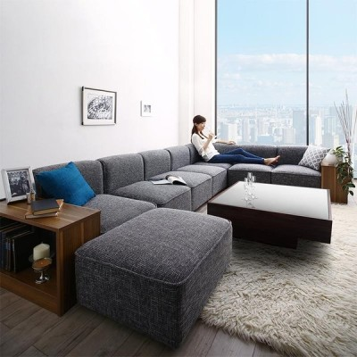 レイアウト自由自在大型L字モダンデザインコーナーソファ ELTREAT エルトリート ソファ&サイドテーブルセット 幅300cm