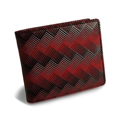 [イスルジャポン] 二つ折り財布 財布 メンズ 小銭入れ スリム 軽い 軽量 本革 日本製 漆 立体的 幾何学模様 (レ?