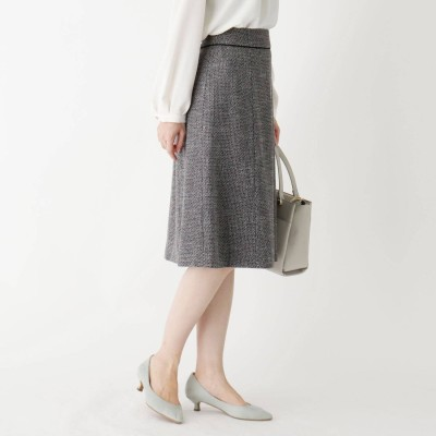 インデックス INDEX 【WEB限定サイズ】スパークルツイードAラインフレアスカート (ブラック)