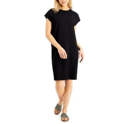 エイリーンフィッシャー ワンピース トップス レディース Relaxed Cap-Sleeve Dress Black