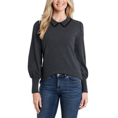 セセ ニット&セーター アウター レディース Puff-Sleeve Collared Sweater Grey
