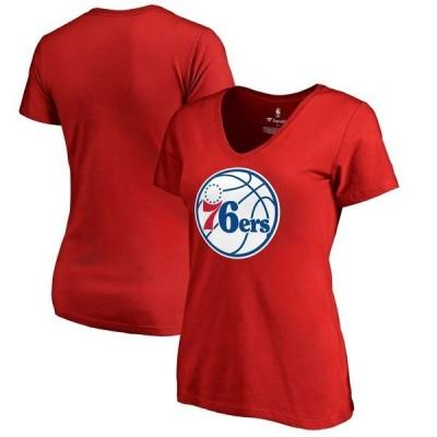 ファナティクス ブランデッド レディース Tシャツ トップス Philadelphia 76ers Fanatics Branded Women's Primary Logo V-Neck T-Shirt
