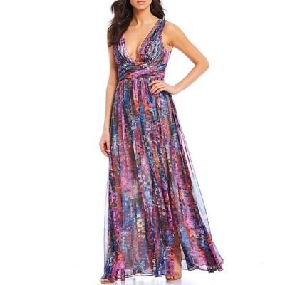 アイダンアイダンマトックス レディース ワンピース トップス Deep V-Neck Sleeveless Printed Chiffon Gown