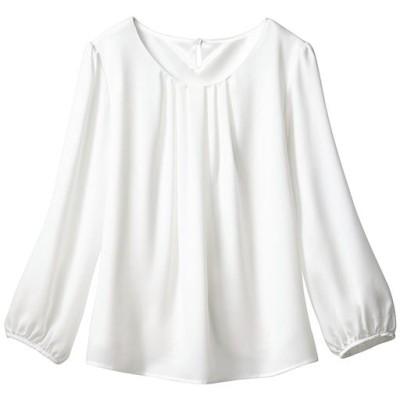 フロントタックブラウス(7分袖)(事務服・洗濯機OK)(2枚仕立て)/オフホワイト/L