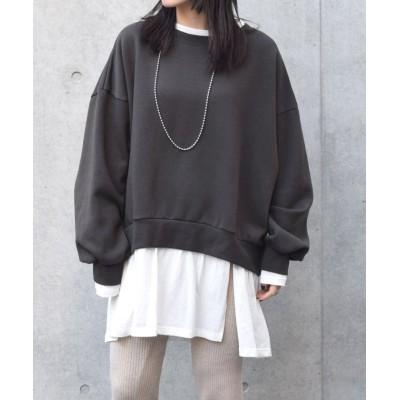 【ダブルクローゼット】 レイヤード風スウェットチュニック レディース ブラック FREE w closet