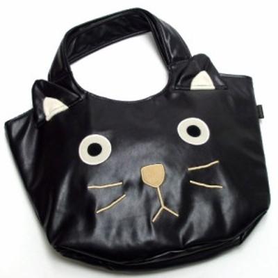 バスケットバッグ PU 黒猫 シャロン ネコ顔バッグ 手提げバッグ トートバッグ 肩掛け 猫顔 プチギフト