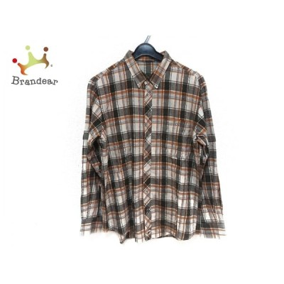 パパス Papas 長袖シャツ サイズL メンズ ベージュ×ダークグレー×マルチ チェック柄   スペシャル特価 20210209