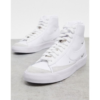 ナイキ Nike レディース スニーカー シューズ・靴 Blazer Mid 77 trainers with metallic mini swoosh in white