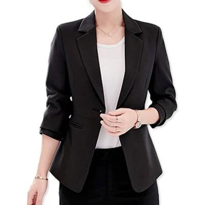 テーラード ジャケット オフィス カジュアル ブレザー 通勤 スーツ レディース(ブラック, L)