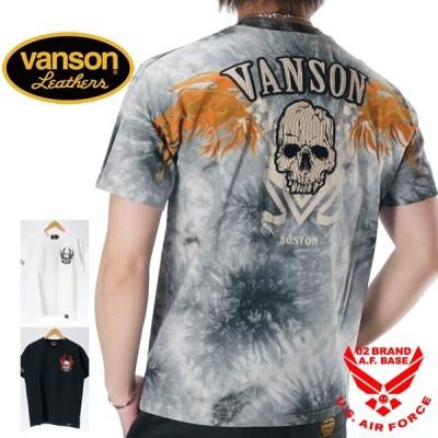 バンソン フライングスカル刺繍 天竺 半袖Tシャツ メンズ VANSON nvst-2004