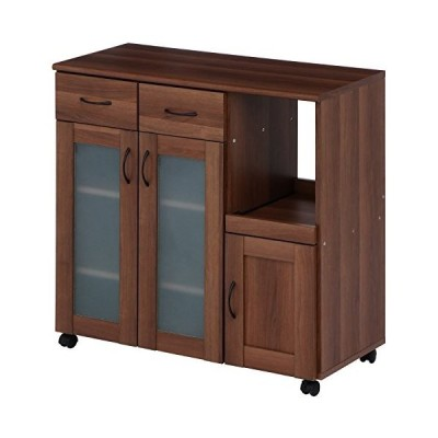 不二貿易 キッチンカウンター サージュ 幅90cm キャスター付き ブラウン 97345