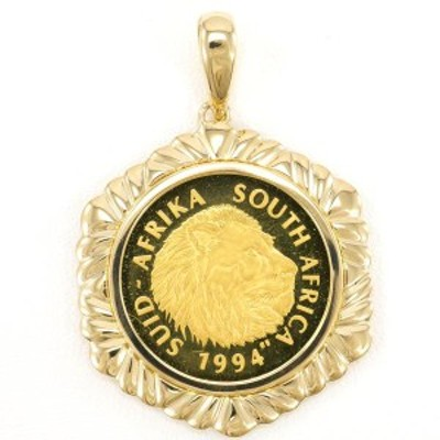 南アフリカ共和国 1/4oz 1/4オンス コイン 金貨 K24YG K18YG ペンダントトップ 総重量約13.3g 中古ジュエリー