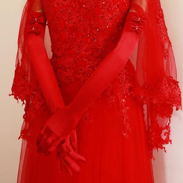 新娘手套結婚手套婚紗手套緞布有指加長手套