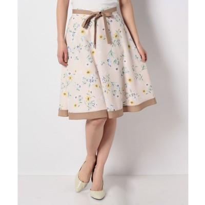 LAISSE PASSE バイカラーフラワープリントスカート(ピンクベージュ)【返品不可商品】