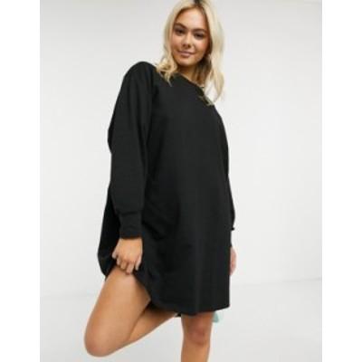 エイソス レディース ワンピース トップス ASOS DESIGN oversized smock back sweat dress in black Black