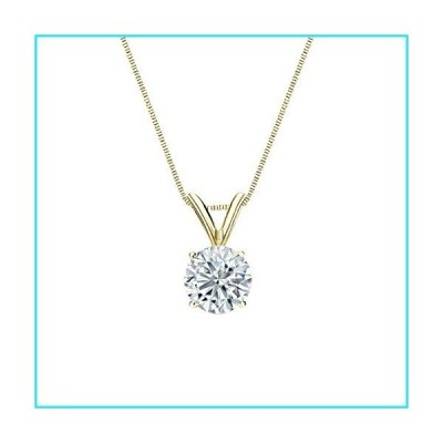 Diamond Wish 18k Yellow Gold Round Solitaire Diamond Pendant Necklace (3/5cttw, G-H, SI1-SI2) 4-Prong Basket, 18-inch Box Chain【並行輸