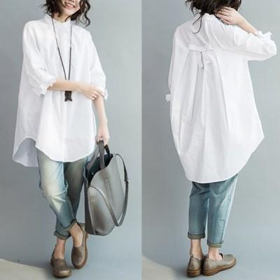 即納 M L XL シャツ ブラウス チュニック シャツワンピ リボン 背中デザイン 大人かわいい 韓国 オールシーズン オフ ホワイト mme3148