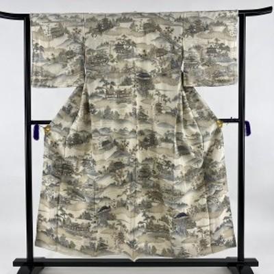 訪問着 逸品 風景 寺院 刺繍 金糸 クリーム 袷 身丈153cm 裄丈62.5cm S 正絹 中古