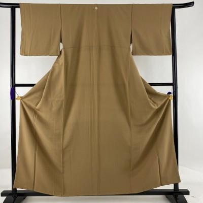 色無地 美品 秀品 落款あり 一つ紋 茶色 袷 159.5cm 62cm S 正絹 中古
