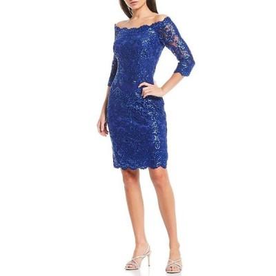 タダシショージ レディース ワンピース トップス Off-The-Shoulder 3/4 Sleeve Embroidered Tulle Sheath Dress